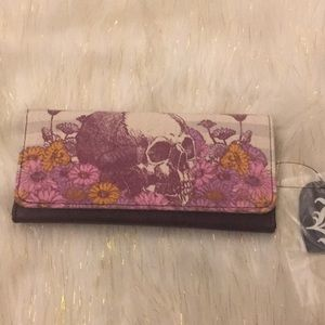 Loungefly Pink Floral Skull Flap Wallet NWT